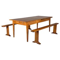Country French Farm Cherry Table with Benches