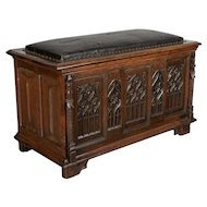 19th c. French Gothic Revival Blanket Chest or Bench