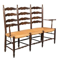 Country French Bench with Rush Seat