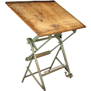 Vintage Industrial French Architect's Drawing Table from L. Sautereau
