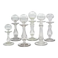 Set of Six 19th Century French Provençal Glass Oil Lamps