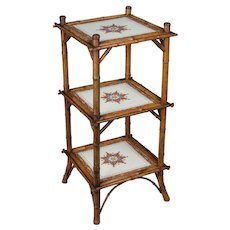 19th c. French Bamboo and Tile Plant Stand