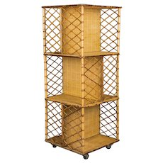 Mid-Century Modern French Bamboo & Rattan Bookcase