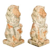 Pair of 19th Century French Terracotta Garden Lions