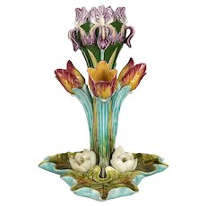 French Majolica Tulip Centerpiece by Onnaing