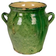 French Green Glazed Terracotta Pot