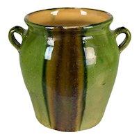 French Green Glazed Terracotta Pottery Vase
