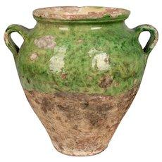 Antique French Green Glazed Terracotta Confit Pot