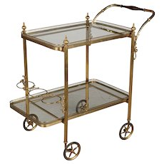 Mid Century French Brass Bar Cart