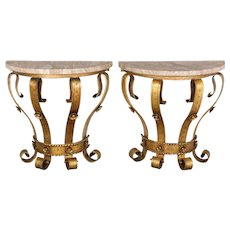 Pair of Spanish Gilded Iron Consoles
