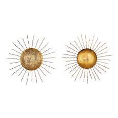 Pair of Mid Century Gilded Iron Sunburst Sconces