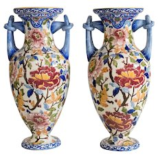 Pair of French Faience Gien Vases
