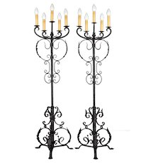 Pair of 1920s Spanish Revival Wrought Iron Floor Torchères