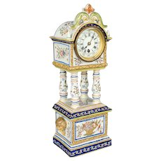 French Desvres Faience Clock