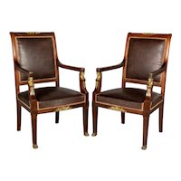 French Empire Style Arm Chairs Pair