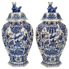 Pair of Early 18th Century Delft Jars