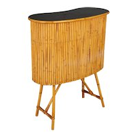 Mid Century French Riviera Bamboo and Rattan Bar