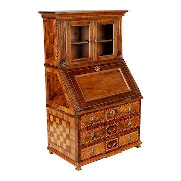 18th c French Louis XVI Miniature Marquetry Secretaire or Desk