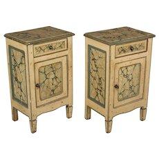 Pair of Italian Faux Marble Painted Nightstands