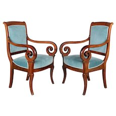 Pair of  French Restauration Style Armchairs