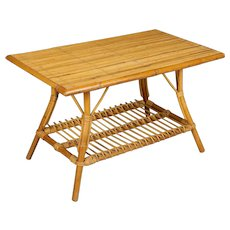 Mid Century French Riviera Bamboo and Rattan Coffee Table