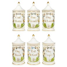 Set of Six 19th Century French Apothecary Jars