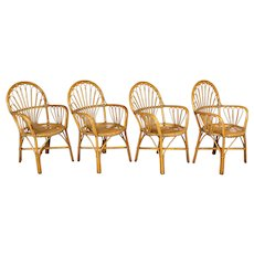Set of Four French Bamboo & Rattan Dining Chairs