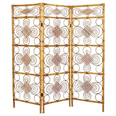 Midcentury French Riviera Bamboo and Rattan Screen