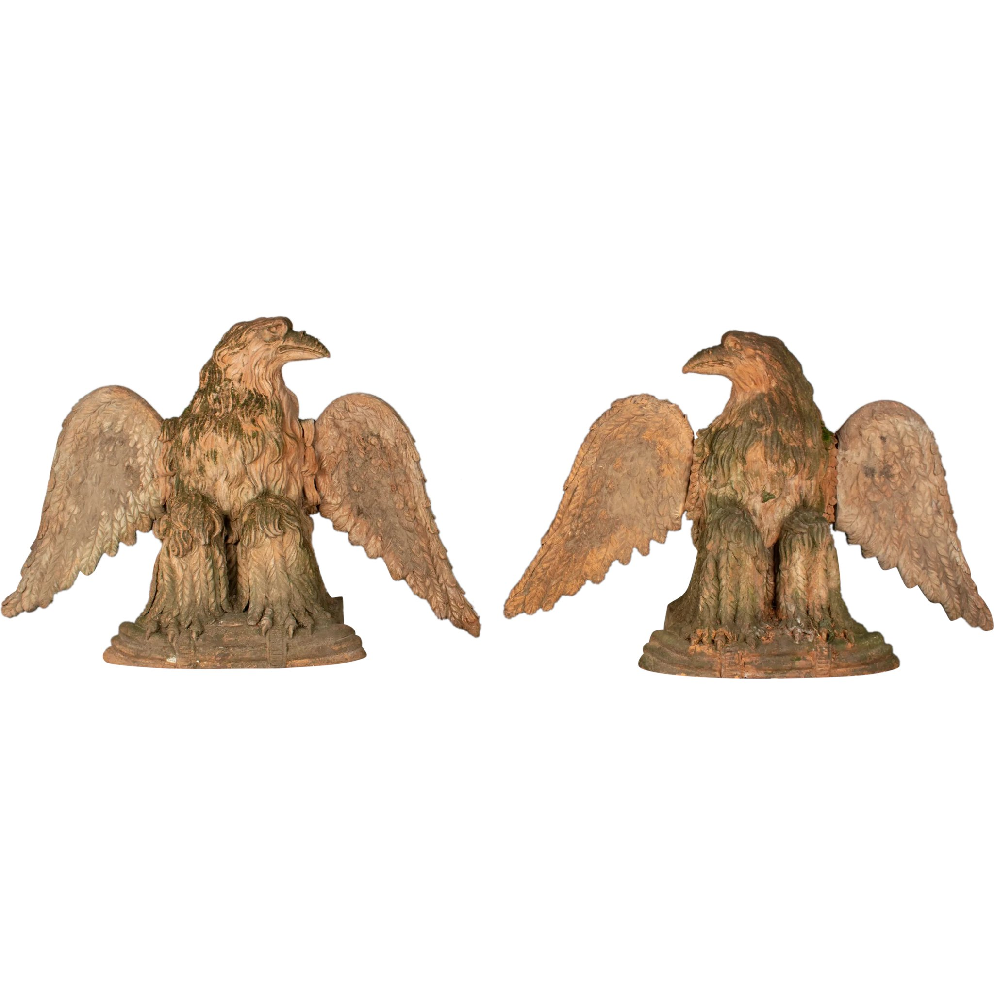 Pair Of French Terra Cotta Garden Eagles Olivier Fleury Inc French Antiques Ruby Lane