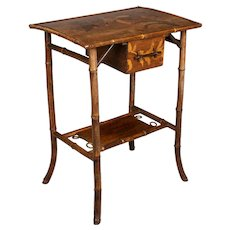 19th c. English Marquetry Bamboo Table