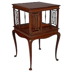 English Mahogany Rotating Bookcase Side Table
