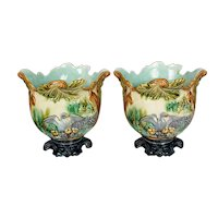 Pair of French Majolica Cache Pots