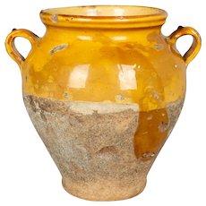 Antique French Yellow Glazed Terracotta Confit Pot