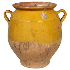 Antique French Yellow Glazed Terracotta Confit Pot