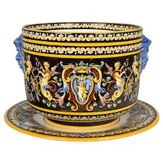 19th Century French Gien Faience Cachepot and Platter