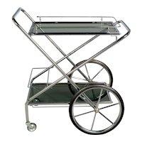 French Chrome & Smoke Glass Folding Bar Cart