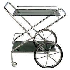 French Chrome & Smoke Glass Folding Bar Cart
