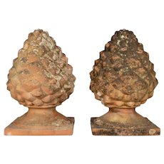 Pair of French Terracotta Pinecone Garden Finials