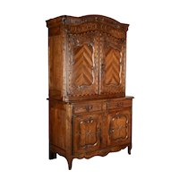 19th c. Louis XV Style Buffet à Deux Corps or Cupboard