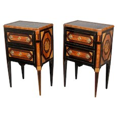Pair of Italian NeoClassical Style Marquetry Side Tables