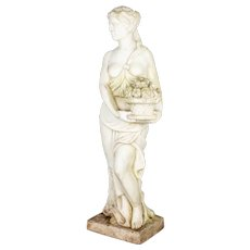 Antique Italian Marble Allegory of Spring Garden Statue