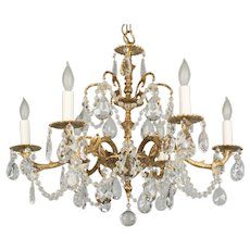 Spanish Brass & Crystal Six Light Chandelier