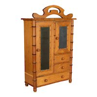 French Faux Bamboo Doll Furniture Miniature Armoire