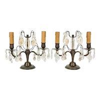 French Art Deco Girandole Lamps - a Pair