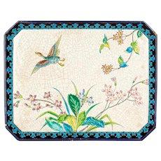 19th Century French Longwy Ceramic Tray