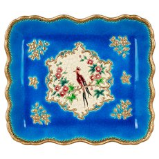 Early 20th Century French Longwy Ceramic Tray with Exotic Bird