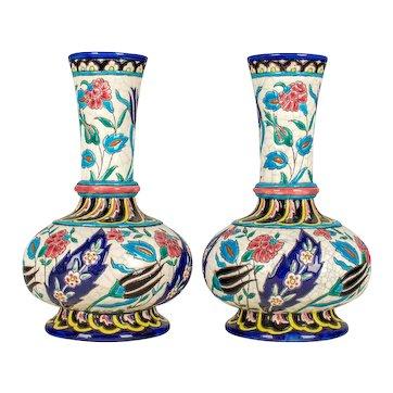 Pair of 19th Century French Longwy Ceramic Vases