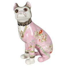 Late 19th Century French Emile Gallé Faience Dog Sculpture