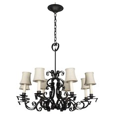 French Wrought Iron Scroll Form Chandelier