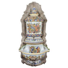 French Desvres Faience Wall Mounted Lavabo Circa 1900